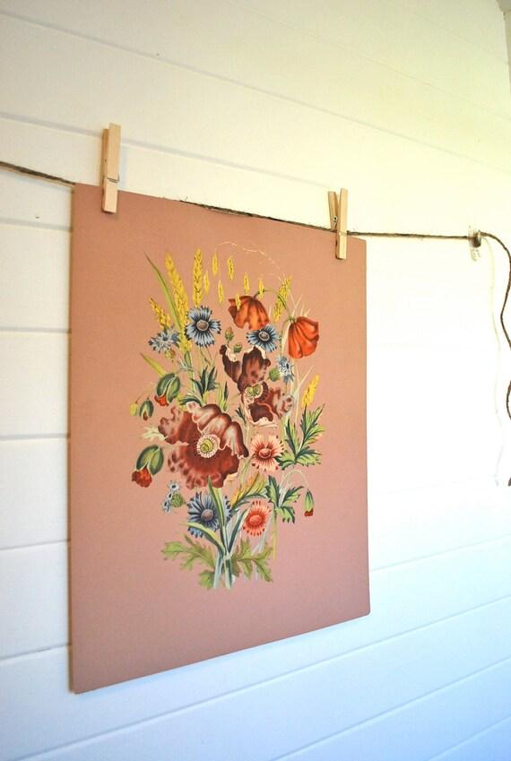 amazing vintage original floral botanical watercolor, dusty rose, botanical print, victorian, cottage, or farmhouse style