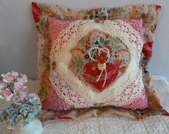TREASURY ITEM -Sweetly Romantic Pillow- Vintage Embelishments- Shabby Chic