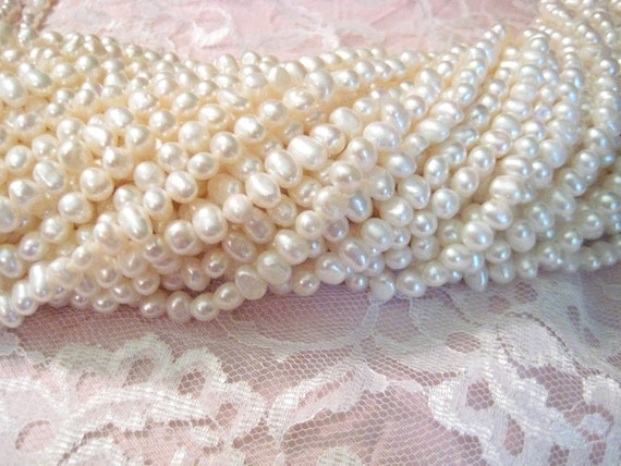 SALE - Ten (10) Strands of 6-8mm Freshwater Cultured Pearls - Creamy White
