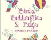 Printable Coloring Book  BIRDS, BUTTERFLIES & BUGS