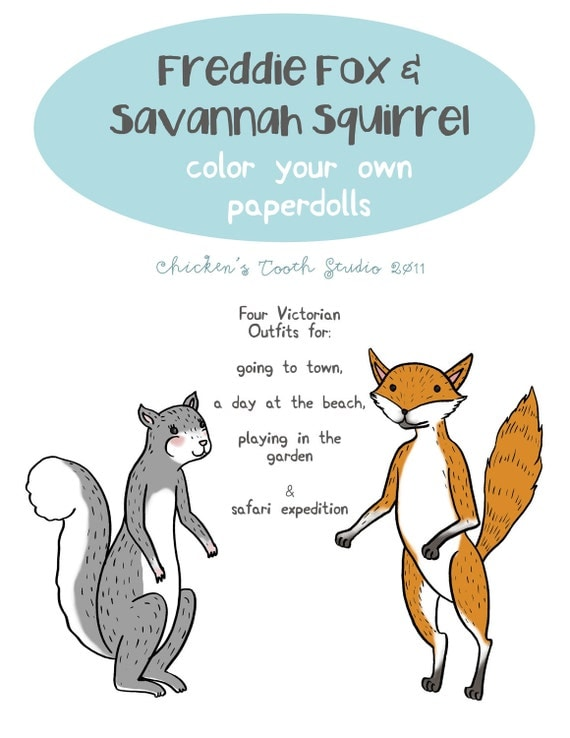 Printable Paper Dolls, Color Your Own (Freddie the Fox & Savannah Squirrel)
