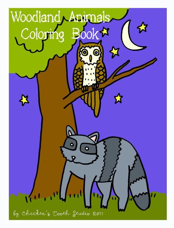 Printable Coloring Book  WOODLAND ANIMALS