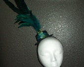 25% OFF - Feathered Teal Mini Top Hat