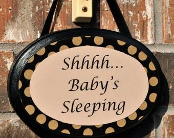 Baby Sleeping Door Sign, Black Polka Dot