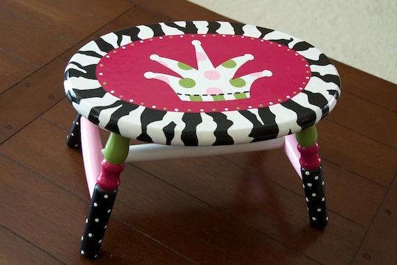 Custom Painted Child Step Stool, Zebra Print and Crown