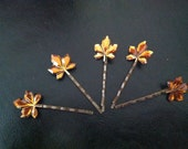 Brown Autumn Leaves on Bobby Pins