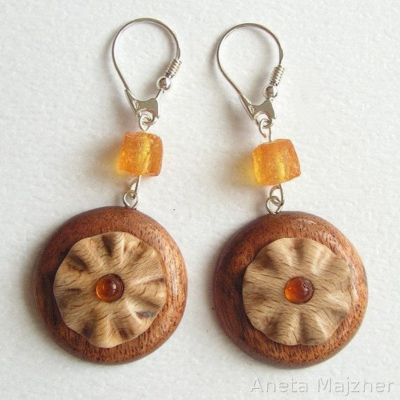 Earrings made of wood and cherry baltic amber Unique hand-carved jewelry