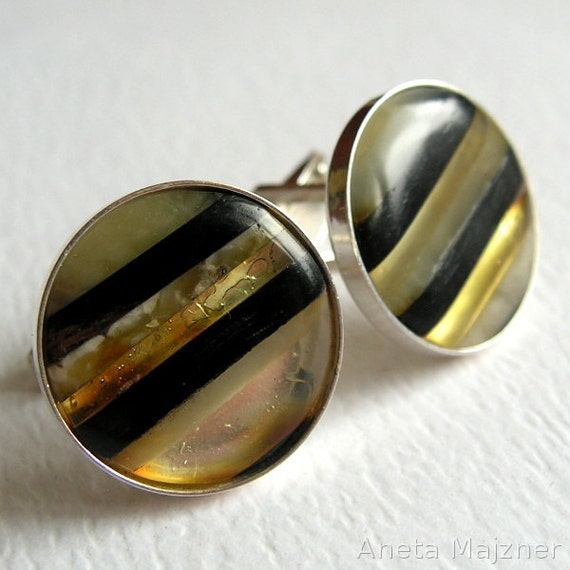 Cuff links made of natural yellow baltic amber, wood and sterling silver Unique Jewelry