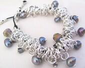 Charm Bracelet - Black Fresh Water Pearl and Swarovski Crystal Charm Bracelet