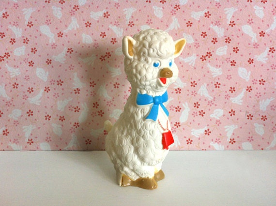 Sheep Toy - cute vintage lamb toy, stocking stuffer, retro nursery decor by First Years and Sani-Babe 1972