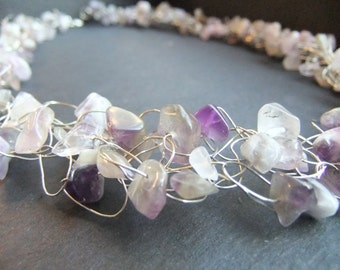 Amethyst Wire Crochet Necklace