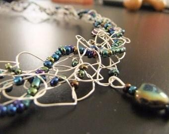 Iridescent Beaded Wire Crochet Necklace