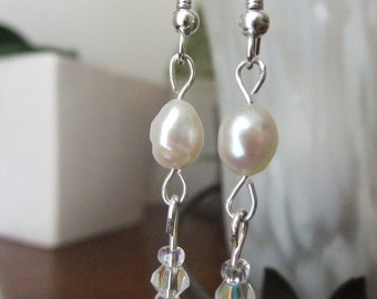 Wedding Freshwater Pearl and Crystal Earrings