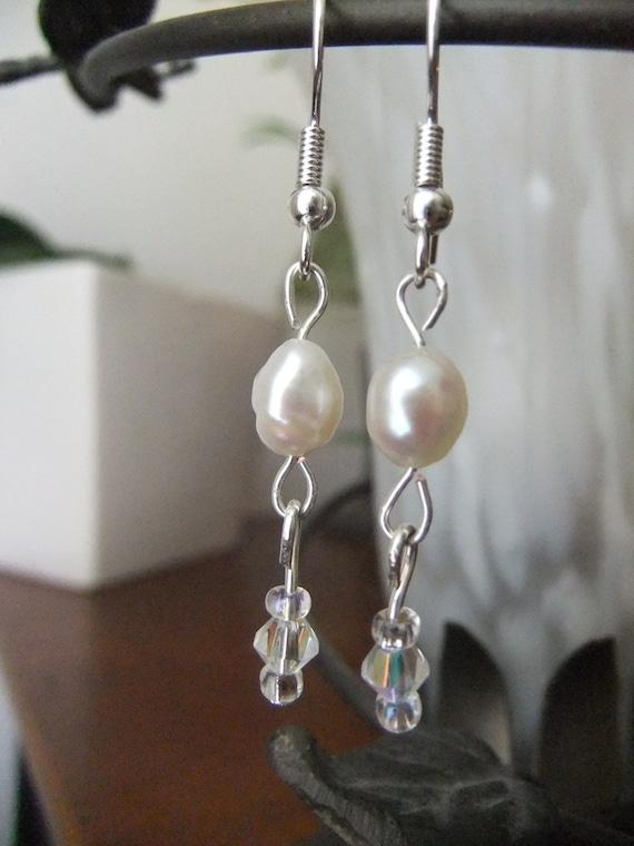 Wedding Freshwater Pearl and Crystal Earrings