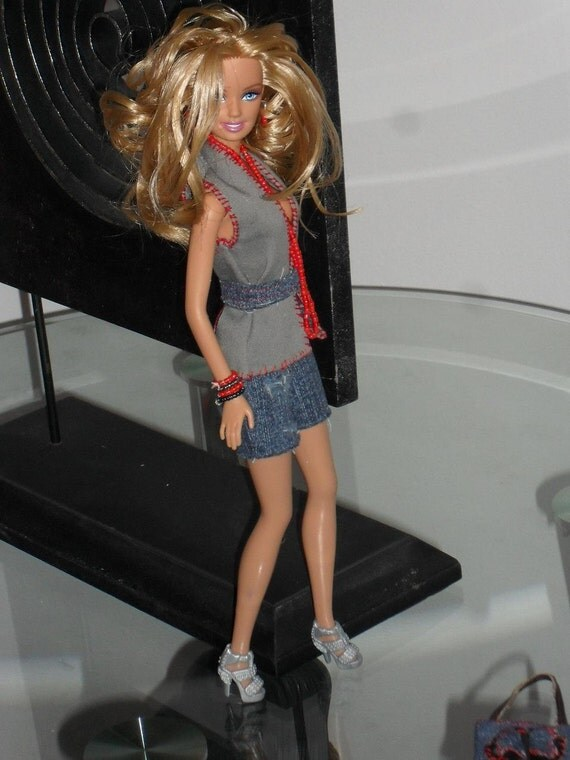 Barbie Doll Clothes - Distressed Denim Cutoffs, Twill Vest, and Handbag made from recycled jeans