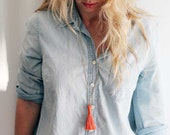 Coral and Antiqued Brass Tassel Necklace