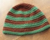 Brown/Green Striped Beanie