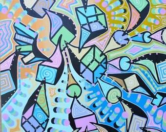 ORIGINAL surrealism cubism abstract street art urban pop painting