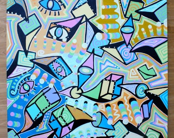 ORIGINAL surrealism cubism abstract street art urban pop painting