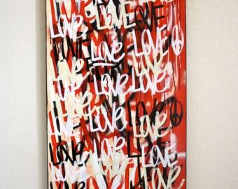 Original love contemporary urban street art word painting