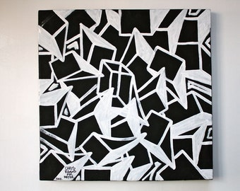 ORIGINAL abstract painting contemporary minimalism black and white modern cubism fine art
