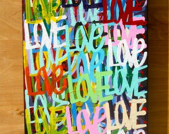 ORIGINAL love contemporary Valentine's Day fine art acrylic urban word modern peace pop art painting From ChrisRiggsArtGallery