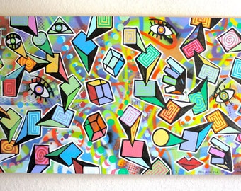 Chris Riggs original abstract large contemporary pop art fine art modern cubism painting