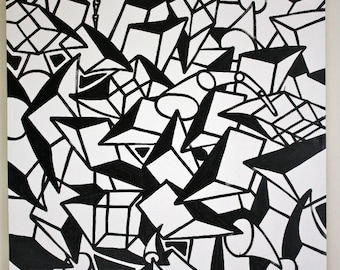 FREE SHIPPING original abstract large painting contemporary minimalism black and white modern cubism fine art pop art street art painting