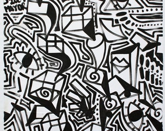 ORIGINAL black and white abstract contemporary minimalism fine art modern eyes cubism portrait large street art urban painting