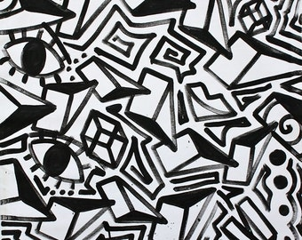 ORIGINAL Black And White Abstract Contemporary Minimalism Fine Art Modern  Eyes Cubism Portrait Large Street Art