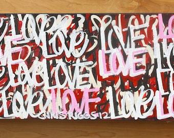 ORIGINAL Valentine's Day large love abstract street art urban pop art acrylic paint word painting Valentines
