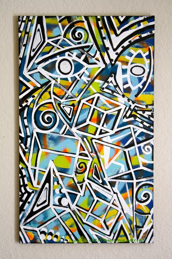 ORIGINAL abstract large contemporary pop art fine art urban expressionism cubism modern painting