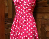 Bombshell Pink Halter Dress with White Polka Dots