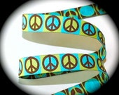 "Woven Ribbon 5/8"" x 3 yds in Turquoise, Kiwi and Brown - 3 available  Peace Sign"