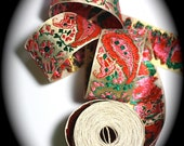 "Stunningly Beautiful Vintage Woven Metallic Paisley Ribbon- 1 1/2"" Pink, Red, Kelly and Gold Metallic-Spun Rayon - Japan"