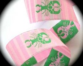 "Lobster Ribbon 1 1/8"" x 3 Yards - Pink/Pink stripes w/Green Lobster - Darling Woven Jacquard"