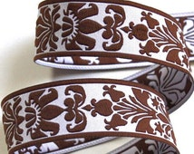 """Damask Design Woven Jacquard Ribbon 1"""""""" x 3 yds - Soft White and Chocolate Brown"""