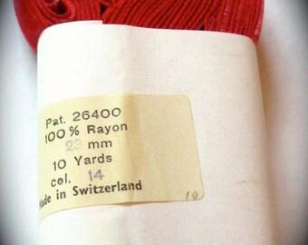 "Vintage Velvet Red - (7/8"") 23mm 100% Rayon 5 yd piece/roll - Made In Switzerland - SALE"