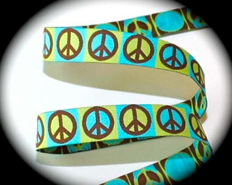 "Woven Ribbon 5/8""  in Turquoise, Kiwi and Brown   Peace Sign"