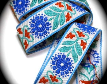 "Vintage Woven Ribbon -  1 1/8"" x 10 yds White, Blue, Turquoise and Red - Abbey"