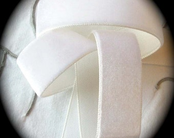 """Vintage Velvet -3 yds x  (7/8"""") 23mm 100% Rayon 3 yds - Winter White (off white - Made In Switzerland Great for Dying"""