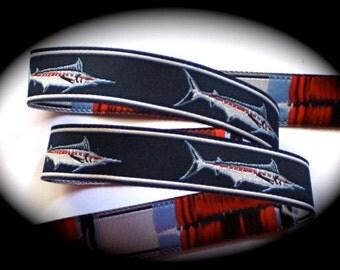 """Marlin Woven Ribbon 5/8""""  - Navy, Red, White - Marlin Fish"""