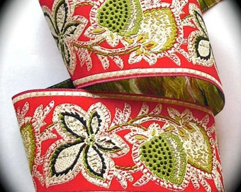 """Woven Jacquard Ribbon - Whimsey Berry -1 7/8""""  Red, Black, Kiwi and Cream - Gorgeous"""