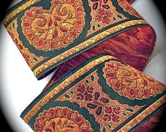 """Woven Jacquard Ribbon - Bijoux  -1 7/8"""" x 1 yd  Brown, Red and Rust   Bijoux4"""