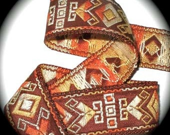 """Aztec Ribbon   - 1"""" x 3  yds in Rust and Gold (not metallic)"""