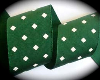 "Grosgrain Hunter Green/Creme Diamond Shape  Ribbon - 2"" x 3 yards - 200ac012"