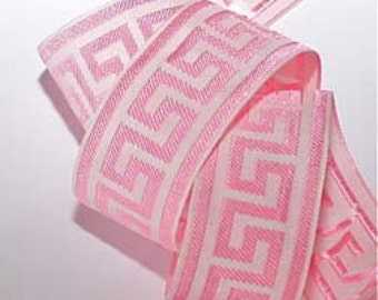 "Greek Key Ribbon - 1"" x 3 yds - Greek Key Design Lt. Pink and White Pic is of 1 1 /2"""
