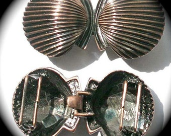 Clam Shell Buckle in Antique Copper - Front and Back  Shown -  Sale