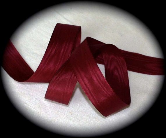 "Vintage Satin  Moire Taffeta - 15/16"" x 3 yards Wild Garnet made by Royal Swan - 100% Rayon"