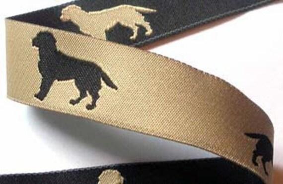 "Woven Ribbon Black/Tan Reversible Black Lab Ribbon - 1"" x 3 yds - Hunting Dogs"